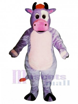 Cute Purple Cow Mascot Costume Animal