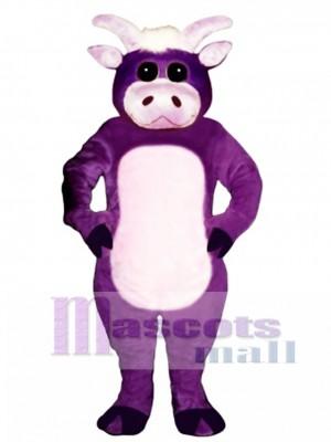 Cute Purple Bull Mascot Costume Animal