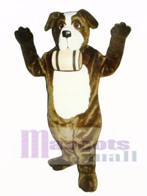 Cute St. Bernard Dog with Barrel Mascot Costume Animal
