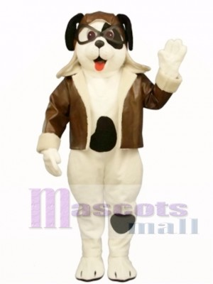 Cute Puppy Dog with Spots & Aviator Outfit Mascot Costume Animal