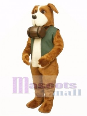 Cute Rescue Rover Dog with Barrel & Vest Mascot Costume Animal