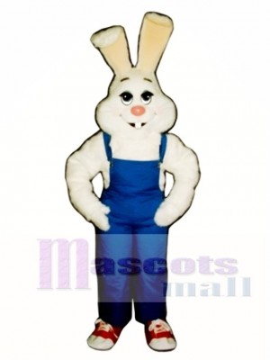 Easter Farmer Bunny Rabbit with Bib Overalls Mascot Costume Animal