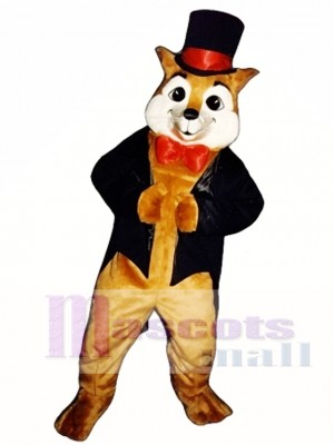 Cute Sly Fox with Hat, Jacket & Bowtie Mascot Costume Animal