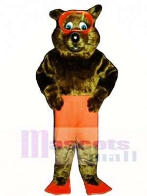 River Otter with Shorts, Fins & Goggles Mascot Costume Animal