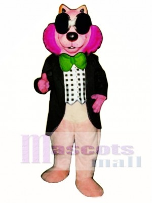 Pink Mink with Vest, Glasses & Bowtie Mascot Costume Animal