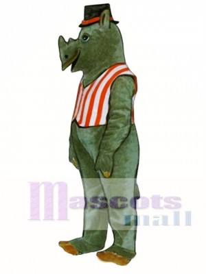 R.I. Nocerous Rhino with Vest & Hat Mascot Costume Animal
