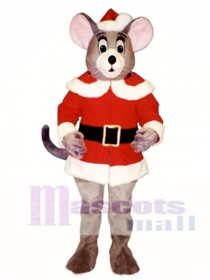 Noel Mouse with Santa Coat & Hat Christmas Mascot Costume Animal