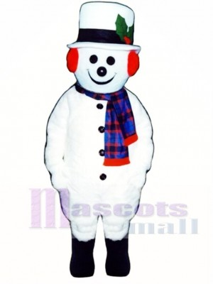 Jolly Snowman with Hat, Earmuffs & Scarf Mascot Costume Christmas Xmas