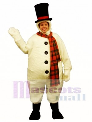 Snowman with Hood Mascot Costume Christmas Xmas
