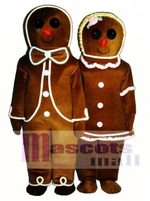 Gingerbread Girl (on right) Mascot Costume Christmas Xmas