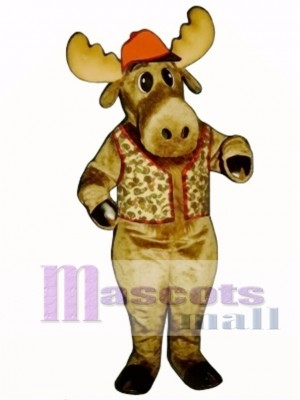 Cute Milton Moose with Hunting Vest & Hat Mascot Costume Animal