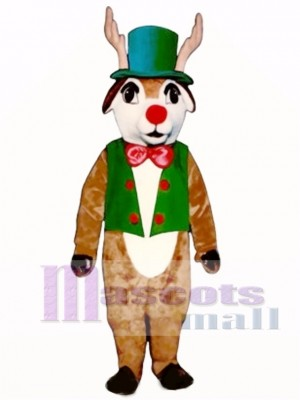 Yuletide Deer with Vest, Hat & Bowtie Mascot Costume Animal