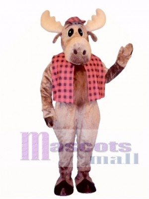 Cute Hunter Moose with Hat & Vest Mascot Costume Animal