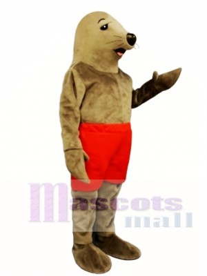 Cute Sunning Seal with Shorts Mascot Costume Animal