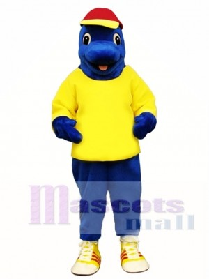 Cute Blue Fish with Shirt & Hat Mascot Costume Animal