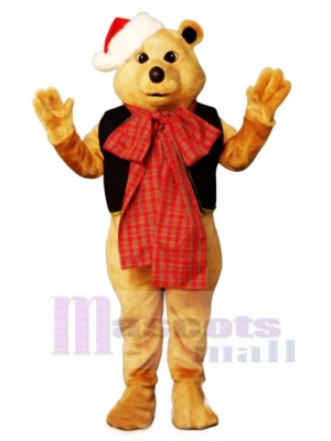 Cute Fancy Bear with Vest, Bowtie & Hat Christmas Mascot Costume Animal