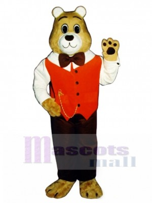 Cute Gentleman Bear Mascot Costume Animal