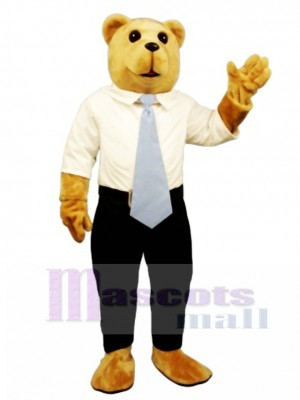 New White Collar Bruce Bear Mascot Costume Animal