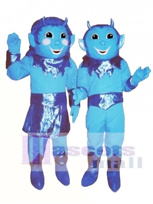Girl Blue Devil (on left) Mascot Costume