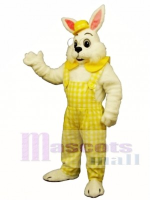 Easter Eggbert Bunny Rabbit with Yellow Cloths Mascot Costume Animal