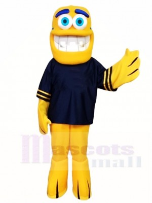 Yellow Fish Mascot Costumes in Black Shirt Sea