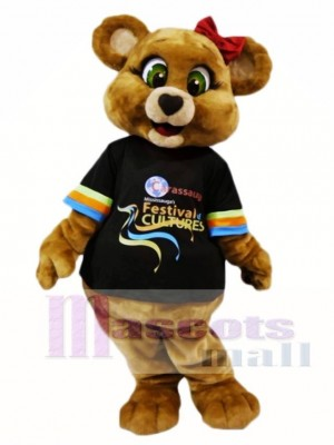 Green Eyes Brown Female Bear Mascot Costumes Animal