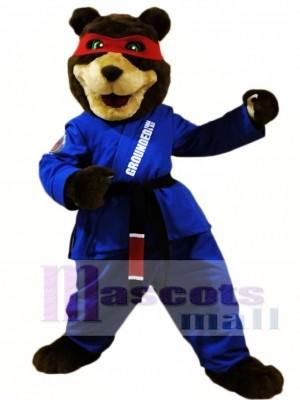 Black Belt Taekwondo Bear Mascot Costumes Animal