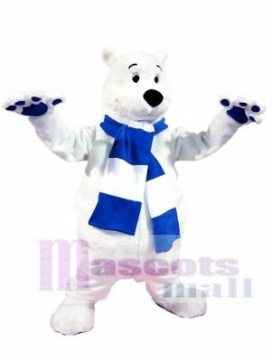 Blue and White Scarf Polar Bear Mascot Costumes Animal