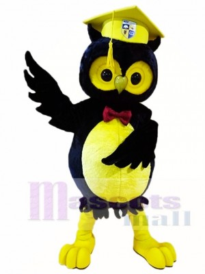 Black Owl with Yellow Graduation Cap Mascot Costumes Animal