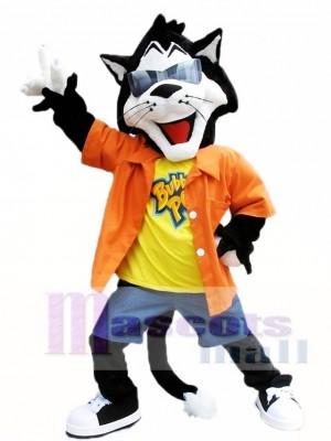 Cute Black Cat with Sunglasses Mascot Costumes Animal
