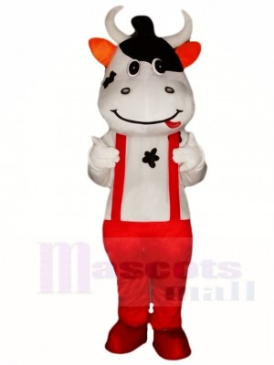 Cow Mascot Costumes with Red Overalls Animal