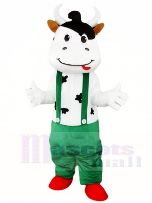 Cow Mascot Costumes with Green Overalls Animal