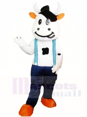 Cow Mascot Costumes with Blue Overalls Animal
