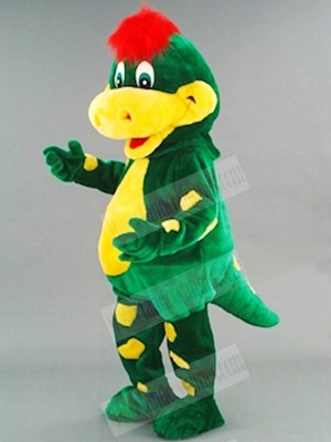 Green Dinosaur with Yellow Belly Mascot Costumes