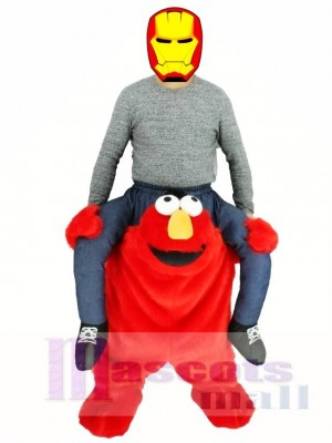 Piggyback Red Monster Carry Me Ride Sesame Street Elmo Mascot Costume