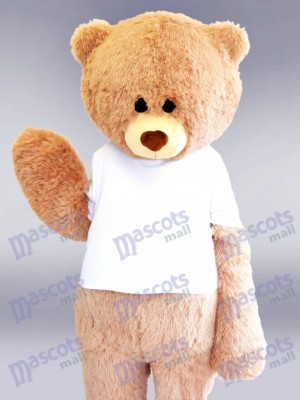 White Shirt Beige Bear Mascot Costume Animal