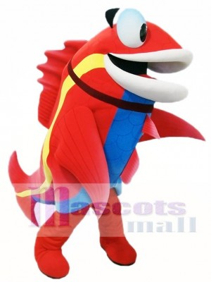 Cute Red Fish with Blue Belly Mascot Costumes Fish Animal