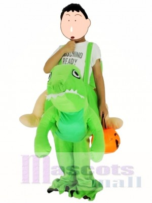 Children/ Kids Piggyback Carry Me Ride on Green Dinosaur Dragon Mascot Costume