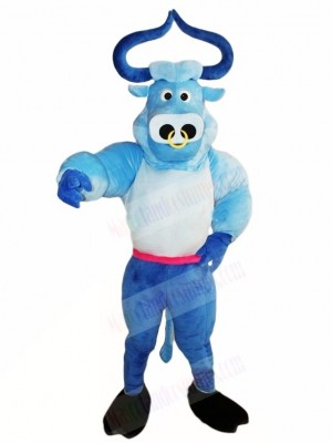 Blue Muscle Bull Ox Mascot Costumes Animal