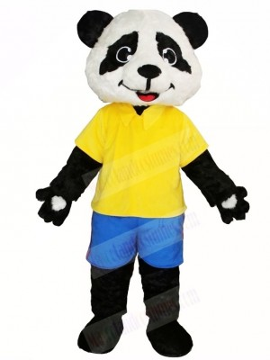 Yellow Shirt Blue Pants Panda Mascot Costumes Animal
