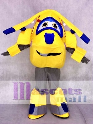 Yellow and Blue Plane Donnie Super Wings Mascot Costumes Cartoon