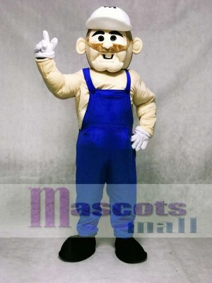 Miner with Blue Overalls Mascot Costume People