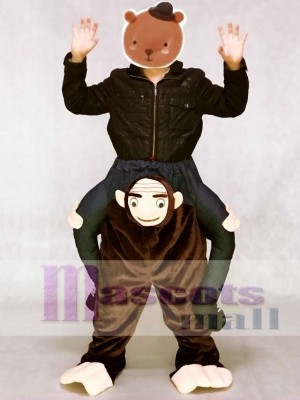 Piggyback Brown Monkey Carry Me Ride Monkey Mascot Costume
