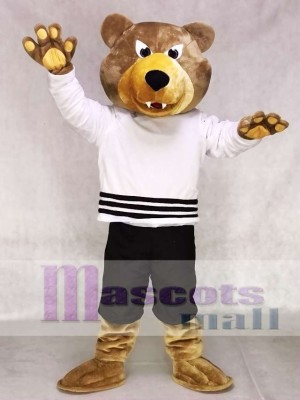 Brown Bear Mascot Costume Grizzlies in White Shirt Mascot Costume Animal