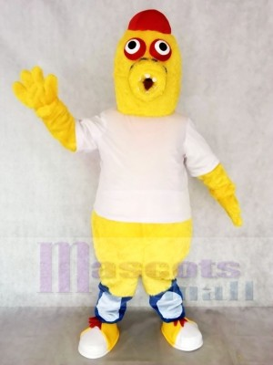 Red Hat Yellow Monster in White Shirt Mascot Costumes