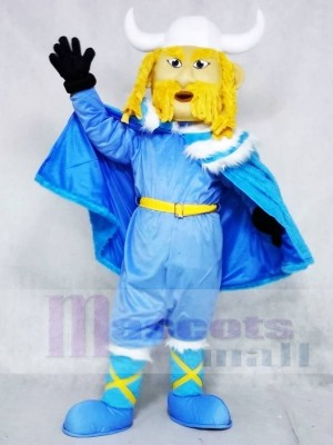 Thor the Giant Viking with Blue Body and Cloak Mascot Costumes People