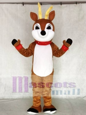 Cute Reindeer with Red Nose Collar & Cuffs Mascot Costume Animal