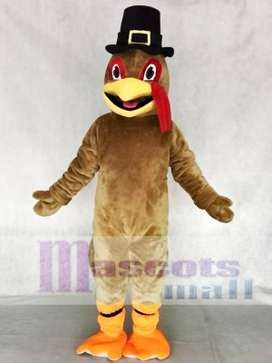 Light Brown Thanksgiving Turkey Mascot Costume with Hat Animal