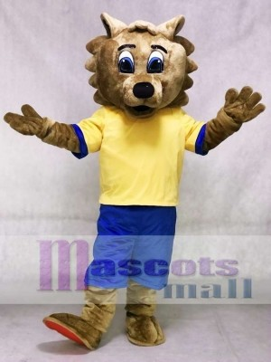 Bob Cat Mascot Costume with Yellow Shirt and Blue Shorts