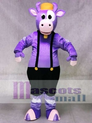 Cute Purple Cow with Overalls and Bell Mascot Costume Animal
